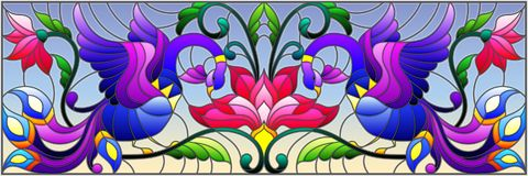 Free Stained Glass Illustration With Abstract Birds And Flowers On A Sky Background , Mirror, Horizontal Image Stock Image - 109754041