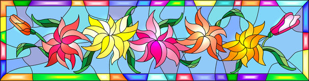 Stained Glass Illustration With Flowers, Buds And Leaves Of Lily