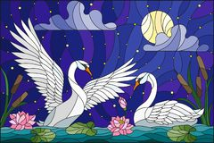 Free Stained Glass Illustration With Pair Of Swans , Lotus Flowers And Reeds On A Pond In The Moon, Starry Sky And Clouds Stock Images - 127770374