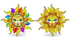 Free Stained Glass Illustration With Set Of Suns With Faces On A White Background Isolates Stock Photo - 179601900