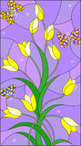 Stained glass illustration with yellow buds tulips and colorful butterflies on a purple background. Illustration in the style of stained glass with yellow buds vector illustration