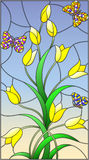 Stained glass illustration with yellow buds tulips and colorful butterflies on a sky background. Illustration in the style of stained glass with yellow buds vector illustration