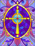 Stained glass illustration  with a yellow cross on a purple background with patterns and swirls Royalty Free Stock Image