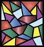 Stained glass illustrations. Colorful stained glass in abstract shapes Royalty Free Stock Image