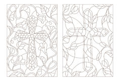 Stained glass illustrations set  with Christian cross. Set contour illustrations with Christian cross Royalty Free Stock Image
