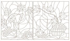 Stained glass illustrations  with still life , grapes, wine and crockery, dark outline on a white background Stock Photos