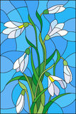 Stained glass illustrationwith bouquet of  white snowdrops  on a  blue background. Illustration in stained glass style with bouquet of  white snowdrops  on a Stock Image