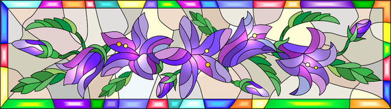 Stained glass image of the flowers of bluebells in a bright frame. Illustration in stained glass style with flowers, buds and leaves of bluebells flowers Royalty Free Stock Photo