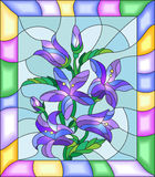 Stained glass image of the flowers of bluebells in a bright frame. Illustration in stained glass style with flowers, buds and leaves of  campanula flowers Royalty Free Stock Photo