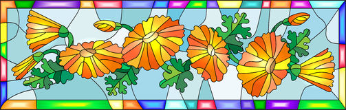 Stained glass image with flowers and leaves of calendula flowers in a bright frame. Illustration in stained glass style with flowers, buds and leaves of Stock Photography