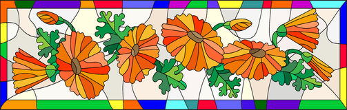 Stained glass image with flowers and leaves of calendula flowers in a bright frame. Illustration in stained glass style with flowers, buds and leaves of Stock Photo