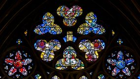Free Stained Glass In Exeter Cathedral, Lady Chapel Window Top Circle Stock Images - 105284684