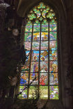 Stained Glass Inside Cathedral of St Barbara Royalty Free Stock Images