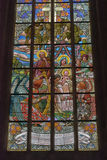 Stained Glass Inside Cathedral of St Barbara Royalty Free Stock Photo