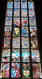 Stained Glass Inside Cathedral of St Barbara in Kutná Hora, Czech. Colourful Stained Glass Inside St. Barbara's Church in the Town of Kutná Hora Royalty Free Stock Photography