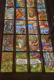 Stained Glass Inside Cathedral of St Barbara Royalty Free Stock Image