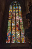 Stained Glass Inside Cathedral of St Barbara Royalty Free Stock Photography
