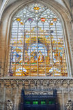 Stained glass inside Cathedral of St. Michael and St. Gudula  is Stock Photos
