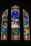 Stained glass inside church Stock Photo