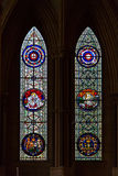 Stained glass inside the historic York Minster in York, UK Royalty Free Stock Photography