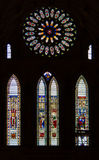 Stained glass inside the historic York Minster in York, UK Royalty Free Stock Image