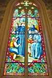 Stained glass Inside Interior a Catholic Stock Photography
