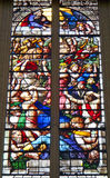 Stained Glass Inside Sainte-Chapelle de Vincennes in France. Stained Glass Depicts the Holy War Inside Sainte-Chapelle de Vincennes at Château de Vincennes in Stock Photography