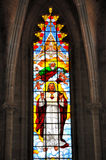 Stained glass and internal construction of church Stock Photo