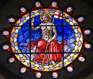 Stained Glass of Jesus Christ in the Basilica of Bologna. Stained Glass in the Basilica of San Petronio, Bologna, Emilia Romagna, Italy, depicting Jesus Christ Stock Images
