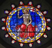 Stained Glass of Jesus Christ in the Basilica of Bologna. Stained Glass in the Basilica of San Petronio, Bologna, Emilia Romagna, Italy, depicting Jesus Christ Royalty Free Stock Images