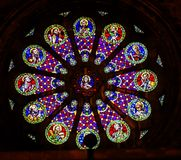Stained Glass Jesus Disciples The Se Cathedral Lisbon Portugal. Rose Window Stained Glass Jesus Disciples Basilica The Se Sedes Episcopalis Cathedral Lisbon Royalty Free Stock Photo