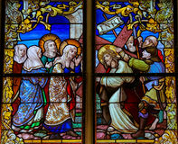 Stained Glass - Jesus meets Mary on the Way of the Cross Royalty Free Stock Photos
