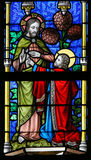 Stained Glass - Jesus and Saint Thomas Stock Images