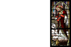 Stained glass with jesus and white space Royalty Free Stock Images