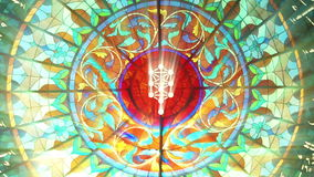 Stained Glass with Kabbalah tree symbol (HQ 1080p Seamless Loop) royalty free illustration