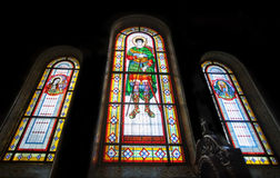 Stained glass  in Kharkov temple of Assumption, Ukraine. Stock Photo