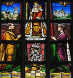 Stained Glass - King Albert I and Queen Elisabeth of Belgium. Stained Glass in the Church of Our Blessed Lady of the Sablon in Brussels, Belgium, depicting King Royalty Free Stock Images
