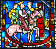 Stained glass,King on horseback Royalty Free Stock Photo
