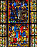 Stained Glass of King Solomon in Cathedral of Strasbourg Royalty Free Stock Image