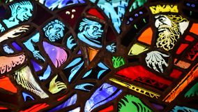 Stained Glass King and Three Servants Royalty Free Stock Photos