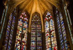 Stained Glass in La basilique Saint-Nazaire of the city Carcassonne in France. Stained Glass in La basilique Saint-Nazaire of the medieval city Carcassonne in royalty free stock image
