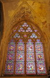 Stained Glass Leadlight Window inside Bayeux Cathedral. Leaded light with stained Glass inside the historically significant Cathedral of Bayeux Royalty Free Stock Image