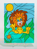 Stained glass - lion Stock Photo