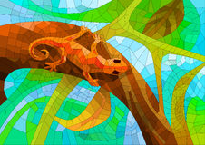 Stained glass with a lizard in the forest under the sun Stock Images