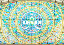 Stained glass with logo Tesla Stock Photo
