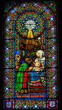Stained Glass Magi Three Kings Baby Jesus Mary Montserrat Catalonia Spain royalty free stock images