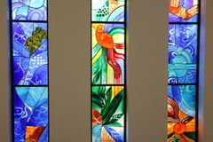 The stained glass. The magnificent stained glass in this historic building Stock Image