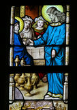 Stained Glass - Marriage at Cana Stock Photo