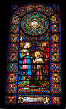 Stained Glass Mary Elizabeth Monastery Montserrat Catalonia Spai Stock Photography