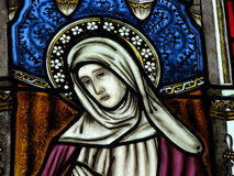 Stained Glass Mary window. A stained glass window at a church with Mother Mary Royalty Free Stock Photos